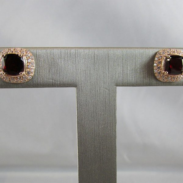Garnet Gold Plated Earrings