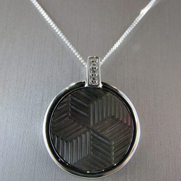 Black Mother of Pearl & Rhodium Pendant