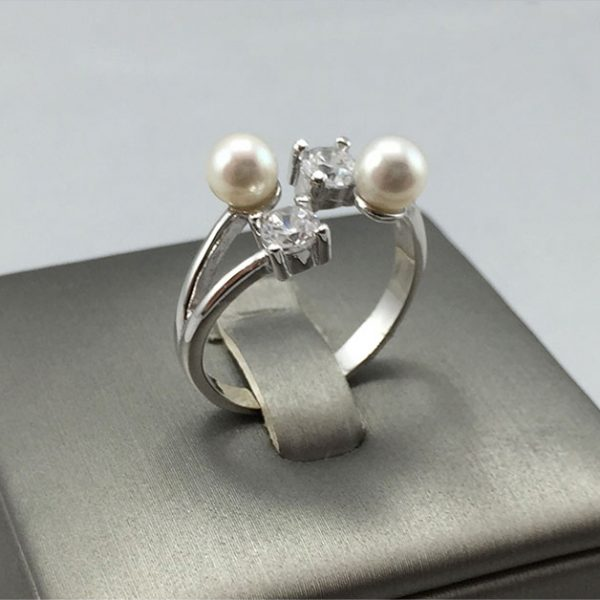 Freshwater Pearl & CZ Silver Ring