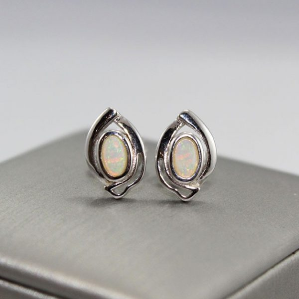 Elegant Solid Opal Silver Earrings