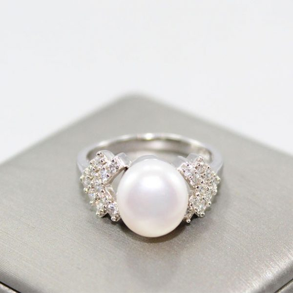 Natural Pearl & CZ Silver Ring