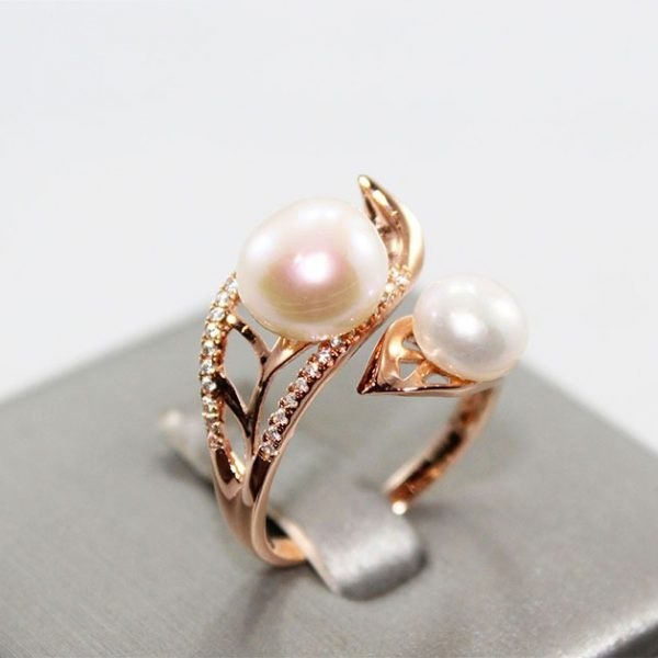 Natural Pearl Rose Gold Plated Ring