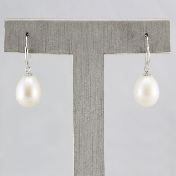 18K White Gold Natural Pearl Earrings