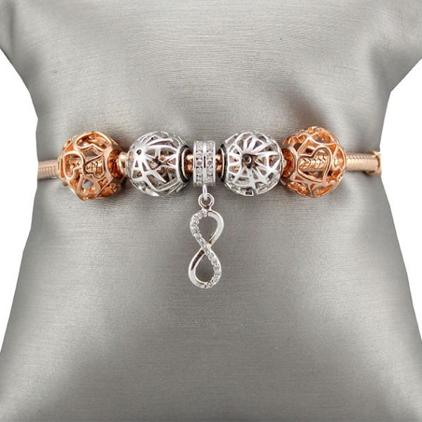 Bracelet & Charms Silver Rose Gold Plated