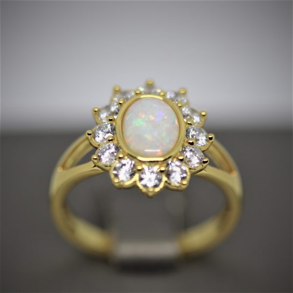 Gold Plated Australian Solid Opal Ring