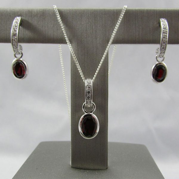 Garnet & CZ Rhodium Plated 925 Silver Earrings & Pendant Set