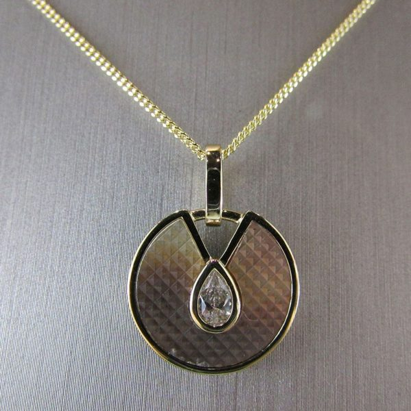 Gold Plated Mother of Pearl & CZ Pendant
