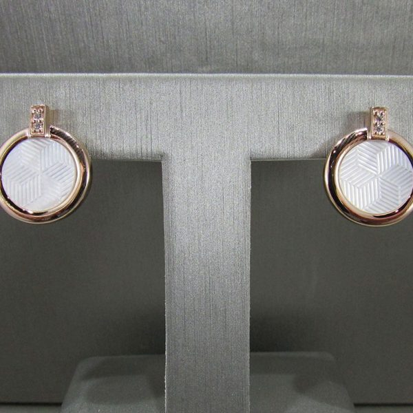 Rose Gold Plated White Mother of Pearl & CZ Earrings