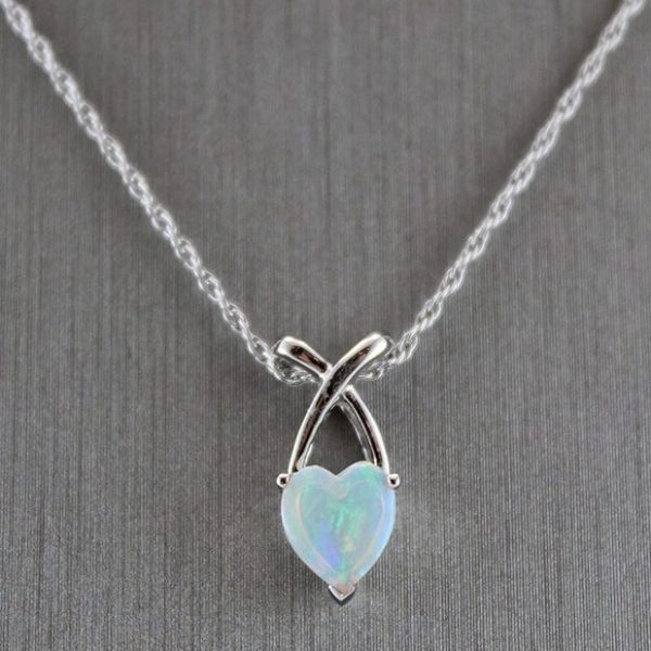 9K White Gold Crystal Solid Opal Pendant