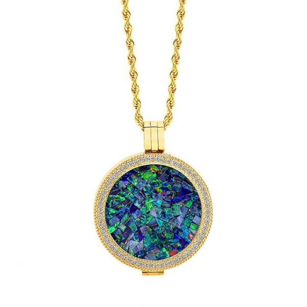 Classic • Yellow Gold Plated Ocean Opal Locket