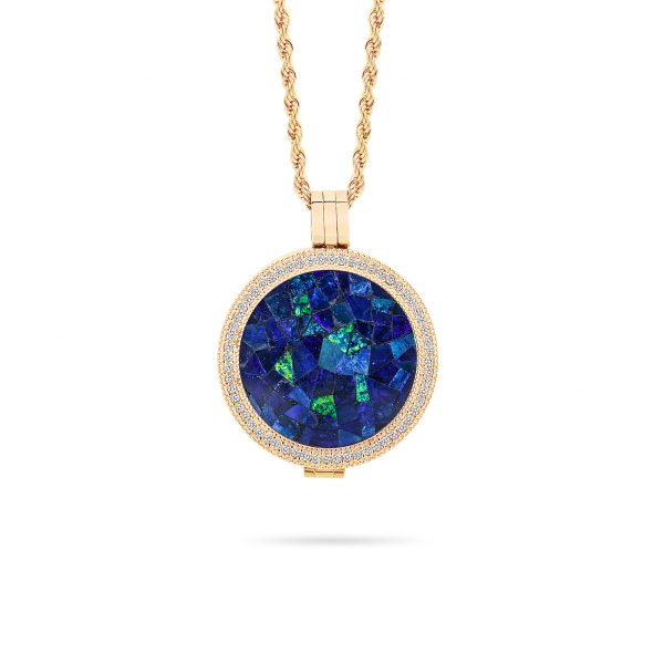 Classic • Yellow Gold Plated Sky Opal Locket