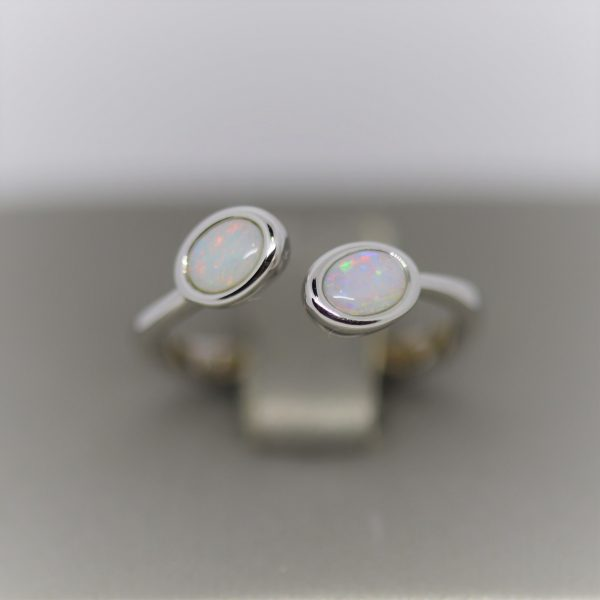Australian Solid Opal Ring with two stones