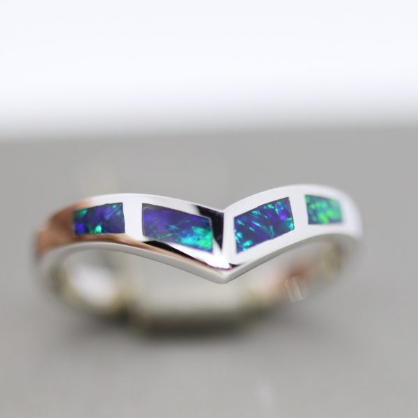 Inlay Australian Doublet Opal Band Ring