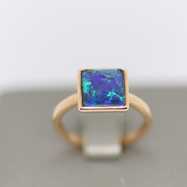 Squared Triplet Opal Rose Gold Plated Ring