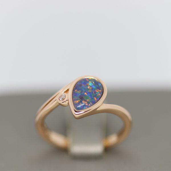 Triplet Opal Rose Gold Plated Ring with CZ