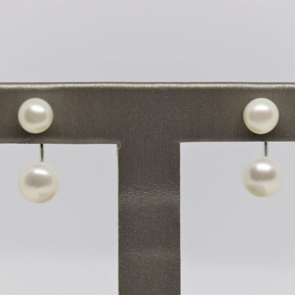 Natural Double Pearl Silver Earrings