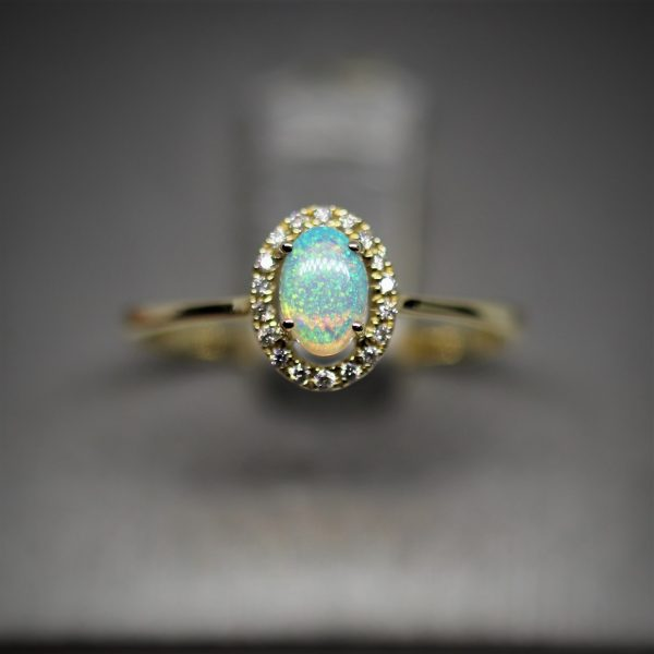 14k Yellow Gold Australian Solid Opal & Diamonds Ring