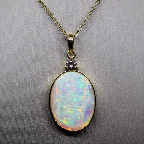 18K Gold Crystal Solid Opal & Diamond Pendant