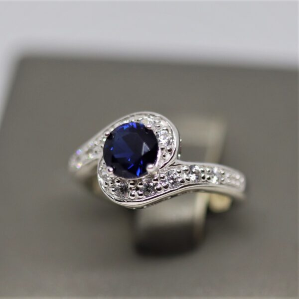 Silver Created Sapphire & CZ Ring