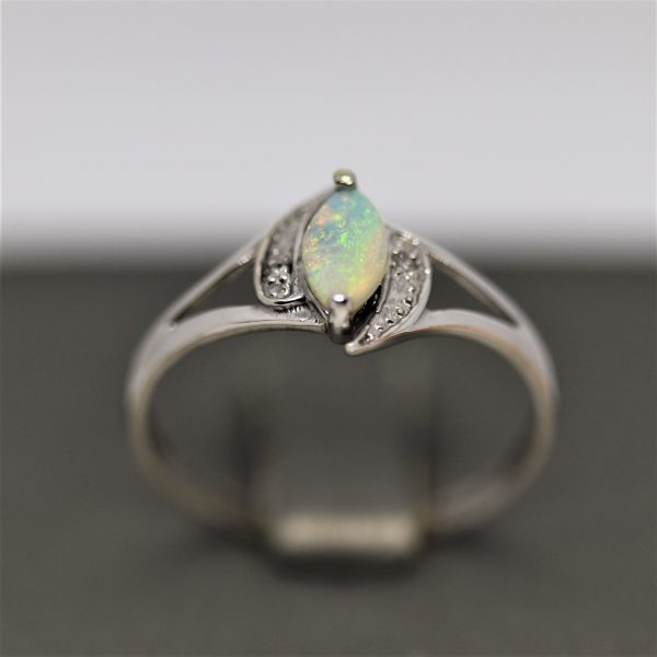9K White Gold Solid Opal & Diamonds Ring