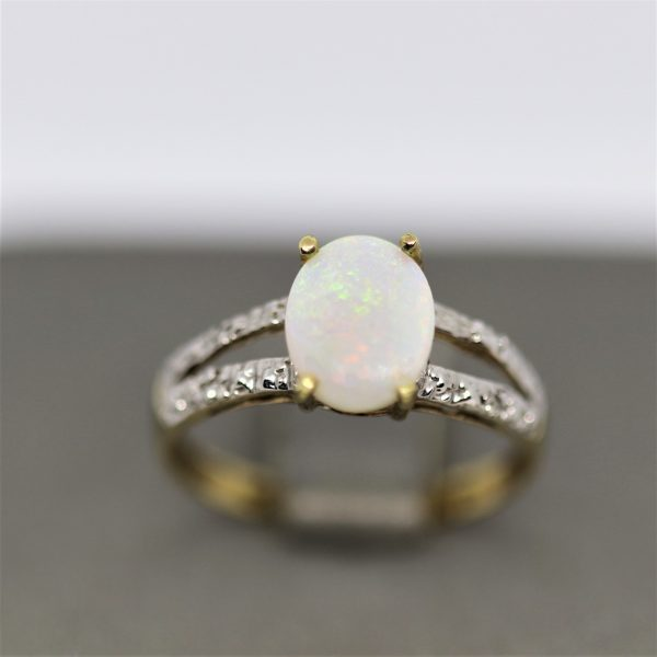9k Gold Solid Opal & Diamonds Ring