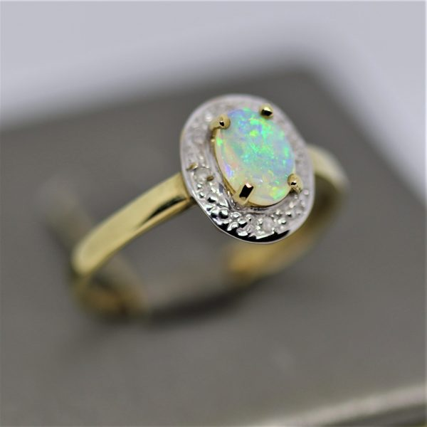 9k Gold Traditional Opal Ring