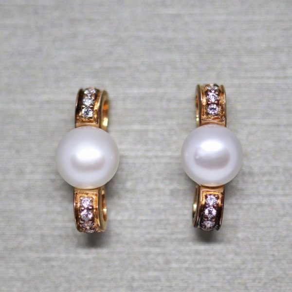 Australian Pearl & CZ Ribbon Shapep Rose Gold Plated Earrings
