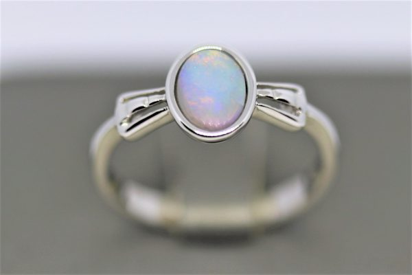 Glowing Crystal Solid Opal Silver Ring