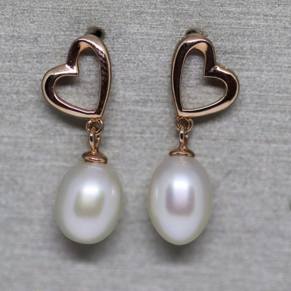 Rose Gold Plated Natural Pearl Earrings