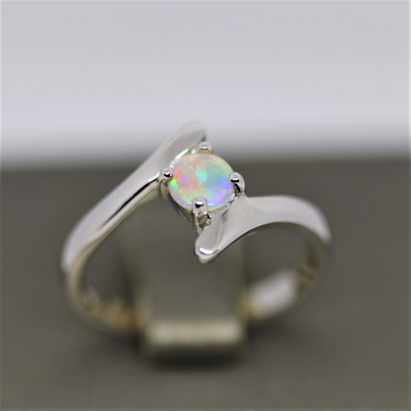 Round Solid Opal Silver Ring