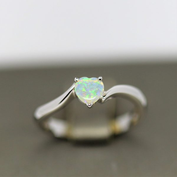Solid Heart Silver Opal Ring