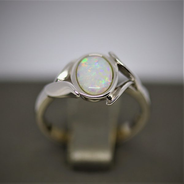 Superfect Silver Solid Opal Ring
