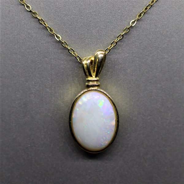 Gold Plated Solid Crystal Opal Pendant