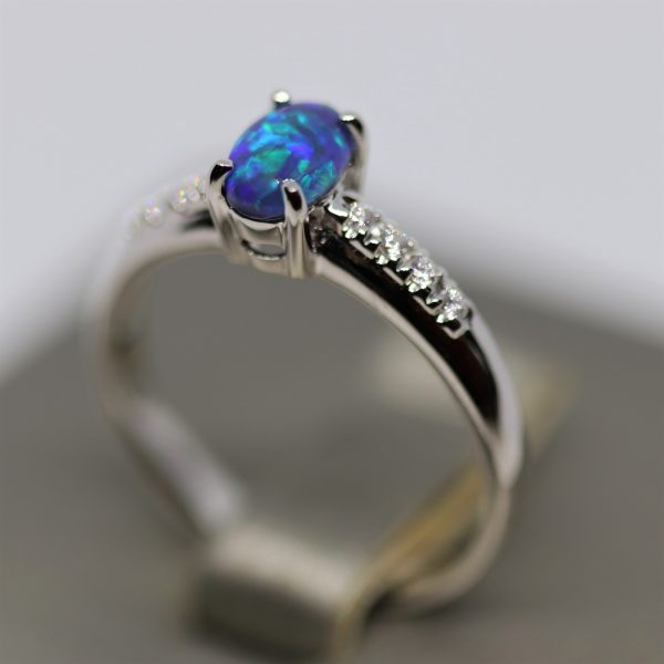 18K w.g Black Opal & Diamonds Ring