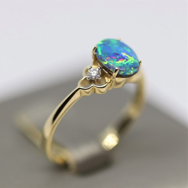 9K Doublet Opal Ring & Diamonds