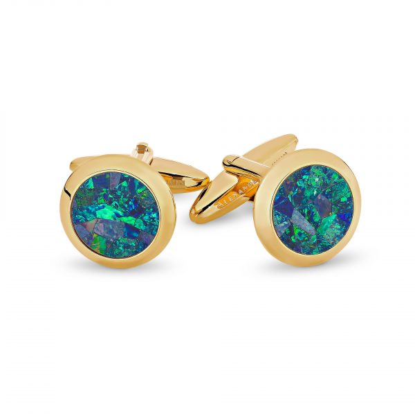 Le Rond • Ocean Yellow Gold Opal Cufflinks