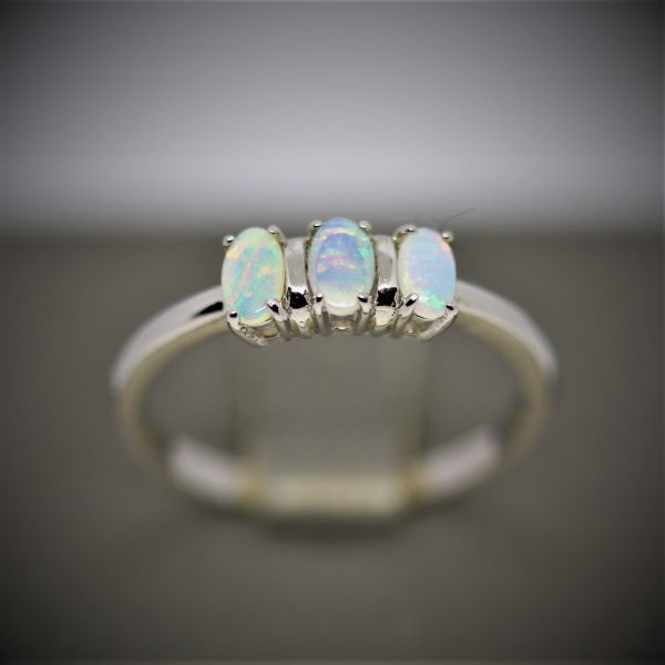 Three Stones Solid Opal Ring