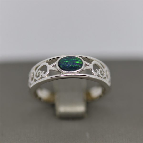Triplet Silver Opal Ring 6×4 Green