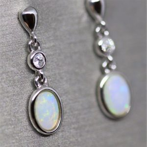 Australian Solid Opal Silver Earrings
