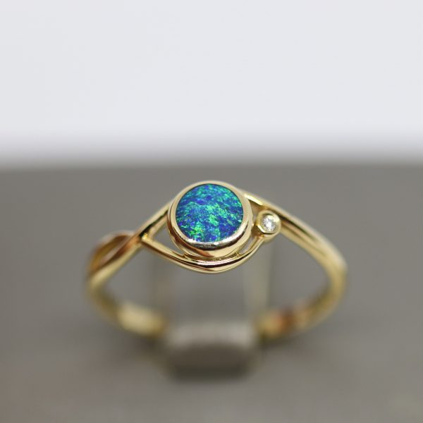 Delicate 14k Gold Opal Ring and Diamond