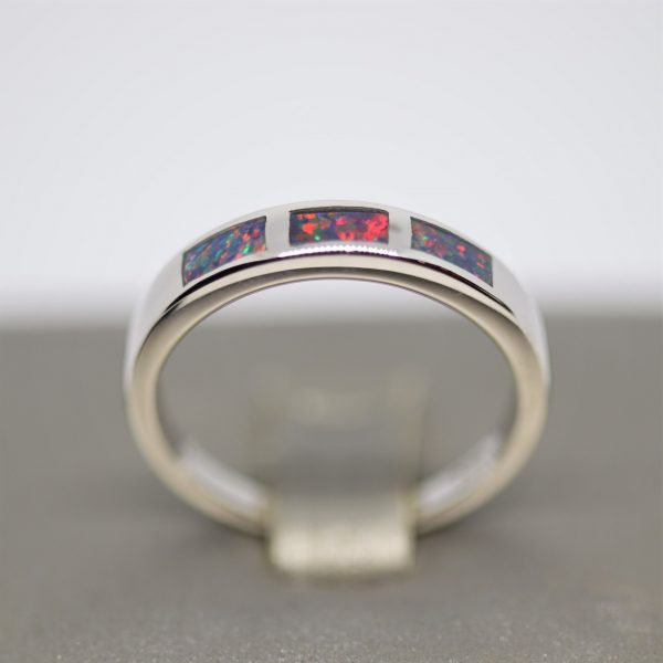Inlay Australian Doublet Opal Ring Band