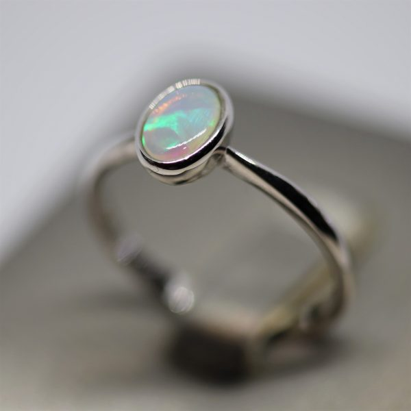 Multicolored Crystal Opal Silver Ring