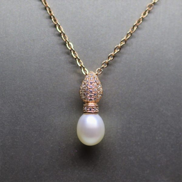 Rose Gold Freshwater Pearl & CZ Pendant