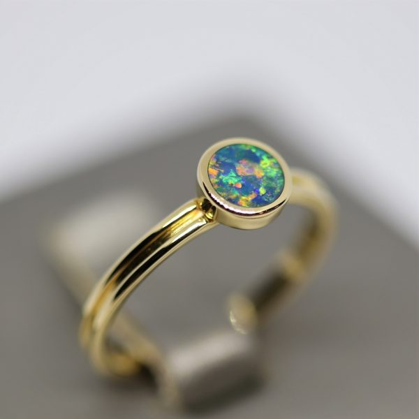 Round Opal 14k Gold Ring