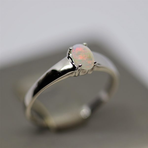 Australian Red Solid Opal Silver Ring
