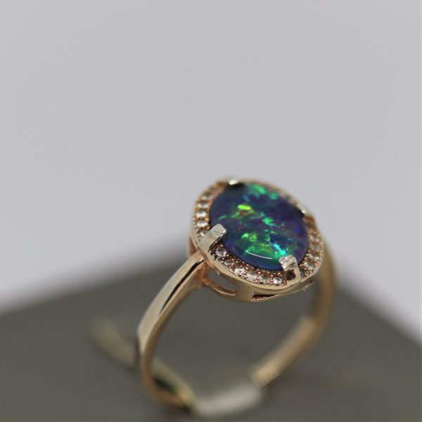 Australian Triplet Opal & CZ Rose Gold Plated Silver Ring