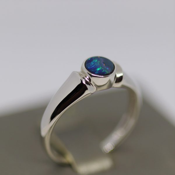 Captivating Silver Doublet Opal Ring