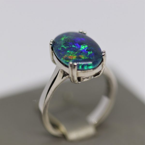Exquisite Silver Triplet Opal Ring