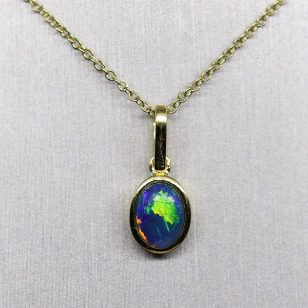 Minimalist Triplet Opal Gold Plated Dark Blue & Green Pendant