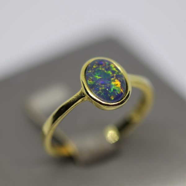 Minimalist Triplet Opal Gold Plated Light Green & Blue Ring